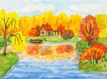 Autumn landscape with house, painting Royalty Free Stock Image