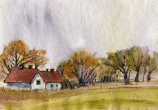 Autumn landscape. Autumn landscape with houses and trees.  Drawing in watercolor and ink. Hand-drawn illustration Stock Photos