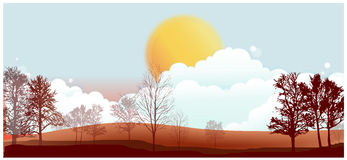 Autumn landscape illustration Stock Photo