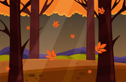 Autumn Landscape Illustration de vecteur Paysage de nature avec les arbres jaunes Image libre de droits