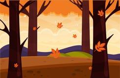 Autumn Landscape Illustration de vecteur Paysage de nature avec les arbres jaunes Photo stock