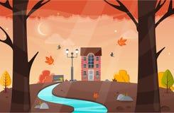 Autumn Landscape Illustration de vecteur Paysage de nature avec les arbres jaunes Photographie stock libre de droits