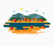 Autumn landscape illustration in flat style. Autumn landscape  illustration in flat style. Autumn nature - sun, forest, river, moutains, trees, clouds Stock Photos