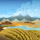 Autumn landscape. Illustration with flocks of migratory birds against late autumn landscape vector illustration