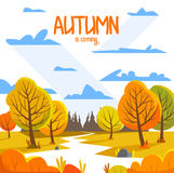 Autumn Landscape Illustrazione di vettore della priorità bassa Stile piano per la vostra progettazione Immagini Stock Libere da Diritti