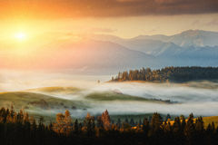 Autumn landscape image with sunrise or sunset, beautiful fog on meadow and mountain on background Stock Images