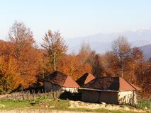 Free Autumn Landscape In A Beautiful Mountain With Colorful Trees And A Few Old Cottages With A Red Gable Roof, Northern Cities Of Iran Stock Photography - 189346692