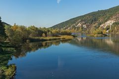 Autumn Landscape of Iskar River near Pancharevo lake, Bulgaria. Autumn Landscape of Iskar River near Pancharevo lake, Sofia city Region, Bulgaria stock photo