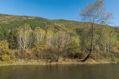 Autumn Landscape of Iskar River near Pancharevo lake, Sofia city Region, Bulgaria. Amazing Autumn Landscape of Iskar River near Pancharevo lake, Sofia city stock photo