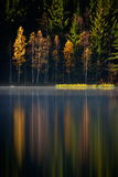Autumn landscape and its reflection in mountain lake Stock Image