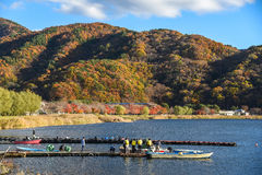 Autumn landscape at Kawaguchi lake. YAMANASHI, JAPAN - NOVEMBER 15, 2015 : Beautiful autumn landscape and docks at Kawaguchi lake (Kawaguchiko) near Fuji royalty free stock photos