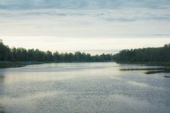 Autumn landscape of Kymijoki river waters in Finland, Kymenlaakso, Kouvola.  royalty free stock photos