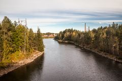 Autumn landscape of Kymijoki river waters in Finland, Kymenlaakso, Kouvola.  stock photography