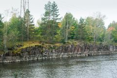 Autumn landscape of Kymijoki river waters in Finland, Kymenlaakso, Kouvola.  royalty free stock photography