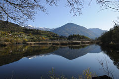 Autumn landscape with lake stock photography