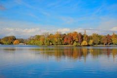 Autumn landscape on the lake royalty free stock photo