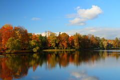 Autumn landscape. With the lake Stock Photos