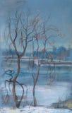 Dark November. Autumn landscape. The lake, ashore the flown trees Royalty Free Stock Image