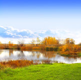 Autumn landscape with a lake Royalty Free Stock Images