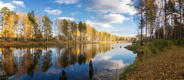 Panorama of the morning autumn landscape on the lake with birch forest on the shore, Russia, Ural, September stock image