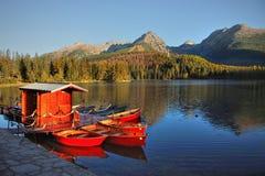 Autumn landscape, Lake, Boats Royalty Free Stock Photo