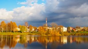 Autumn landscape on a lake on a Sunny day Royalty Free Stock Images