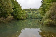 Autumn landscape of lake Vida near Luncasprie village Stock Images