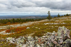 Autumn landscape in Lapland, view from mountain, Finland. Autumn landscape in   Lapland, view from mountain, Finland, stones on foreground Stock Photos