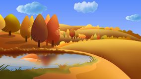 Autumn Landscape Leaf Blown Cartoon 4K ilustración del vector