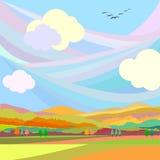 Autumn Landscape Les oiseaux pilotent des sud Photo stock