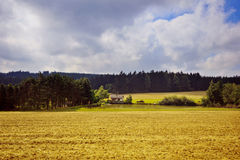 Autumn landscape. A lonely house in the woods near the lake. Royalty Free Stock Images