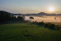Autumn landscape with mist stock photo