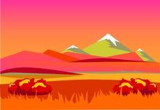 Autumn Landscape Montañas en el fondo una puesta del sol hermosa ilustración del vector