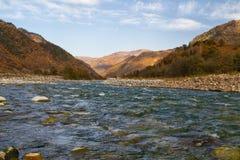 Autumn landscape mountain river Stock Photos