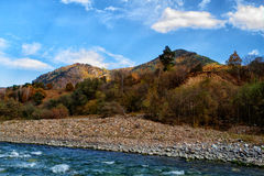 Autumn landscape mountain river Royalty Free Stock Photos