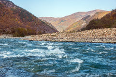 Autumn landscape mountain river North Caucasus Royalty Free Stock Photos