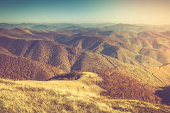 Autumn landscape in mountain valleys. Royalty Free Stock Images