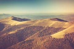Autumn landscape in mountain valleys. Stock Photo