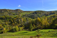 Autumn landscape with mountain village in Romania Stock Photography