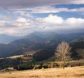 Autumn landscape with a mountain village Stock Photos