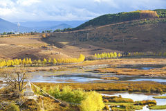 Autumn landscape in the mountains. It is a landscape scene in Yunnan, China Royalty Free Stock Image