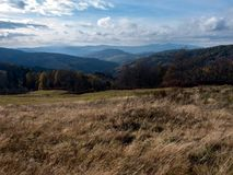 Autumn landscape in mountains. Beautiful view in the Polish mountains in the autumn - Beskid Sadecki stock photo