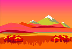 Autumn landscape. Mountains in the background a beautiful sunset. Vector Stock Images