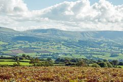 Autumn landscape in the mountains of the Brecon beacons in the British countryside. A rural autumn landscape scene in the British countryside of the Brecon stock photos