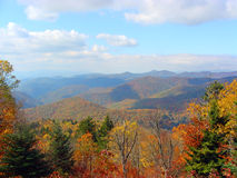 Autumn landscape in the mountains. Bright colors of autumn on the Blue Ridge Parkway Royalty Free Stock Photo