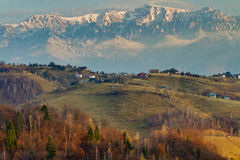 Autumn landscape with mountains and rusty hills. Autumn landscape with rusty hills and mountains having snow Royalty Free Stock Photography