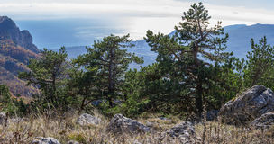 Autumn landscape in the mountains. With sea, clouds and fogs Stock Photography