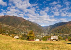 Autumn landscape in the mountains village Stock Photography