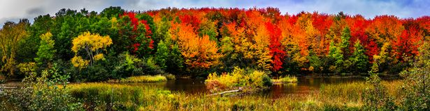 Autumn landscape in New Brunswick, Canada. Changing season with the red and yellow colors stock photos