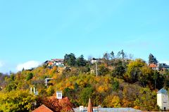 Nice colors in the garden. Typical landscape in the city Brasov, Transylvania, Romania, Autumn characteristic colors Royalty Free Stock Image